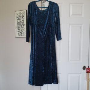 Vintage Long Sleeve Blue Velvet Dress